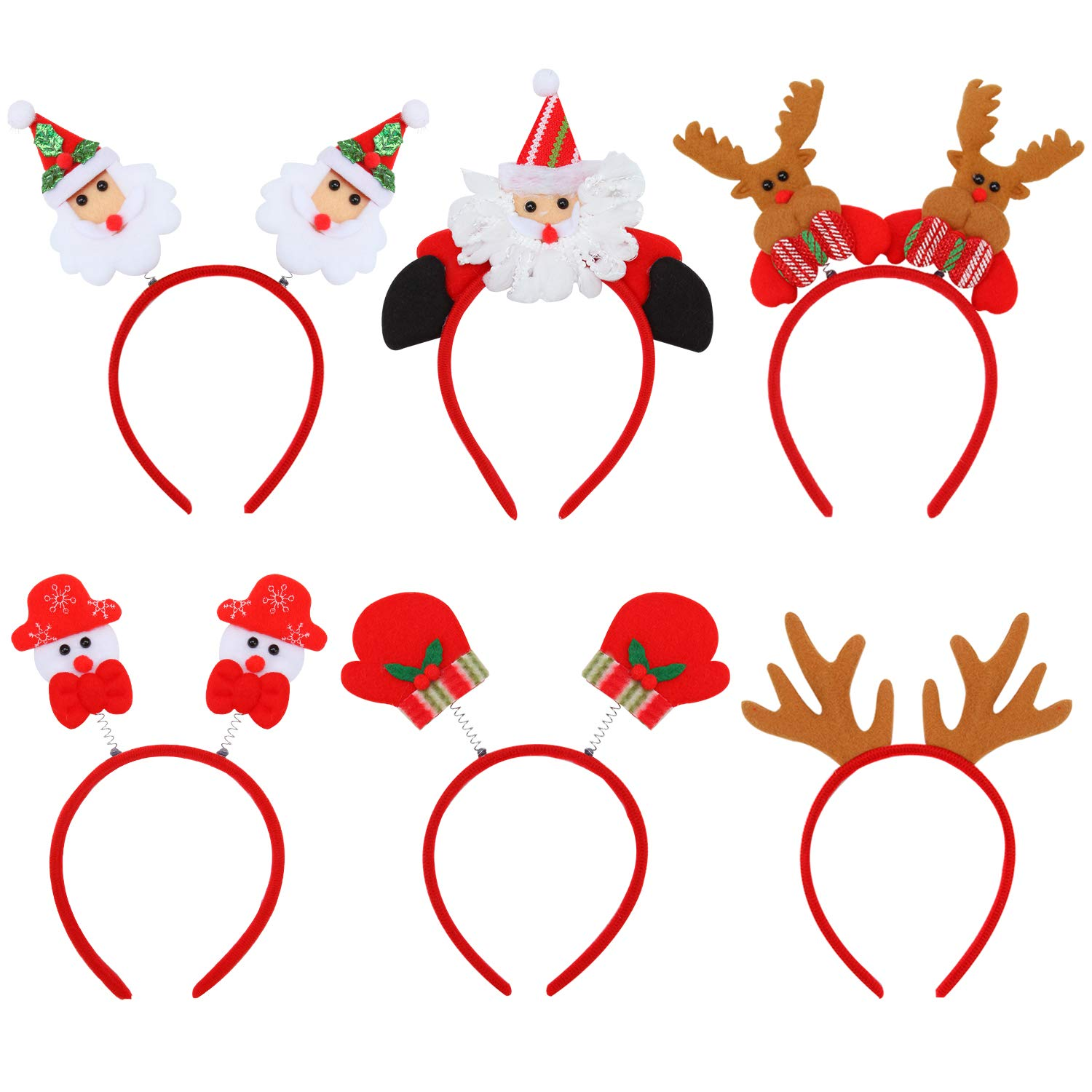 Aneco 6 Pack Christmas Santa Headbands Reindeer Antlers Headband Snowman Costume Hair Hoop for Christmas Holiday Party