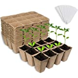 Litviz Seed Starter Peat Pots, Premium Biodegradable and Organic Germination Seedling Trays Kit for Indoor Outdoor Plants, wi