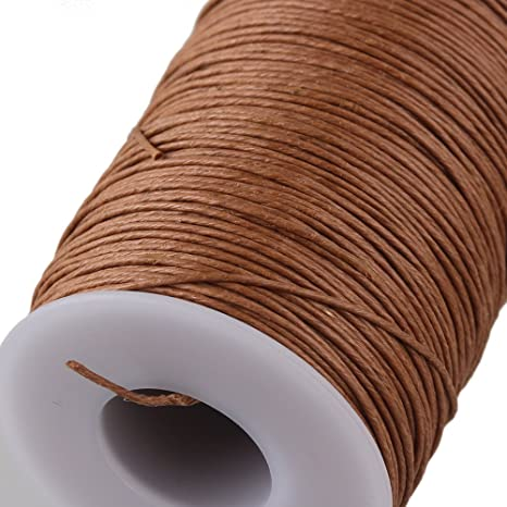 0,7 mm 100 m hilo fuerte de piel rami redondo natural de cáñamo encerado: Amazon.es: Bricolaje y herramientas