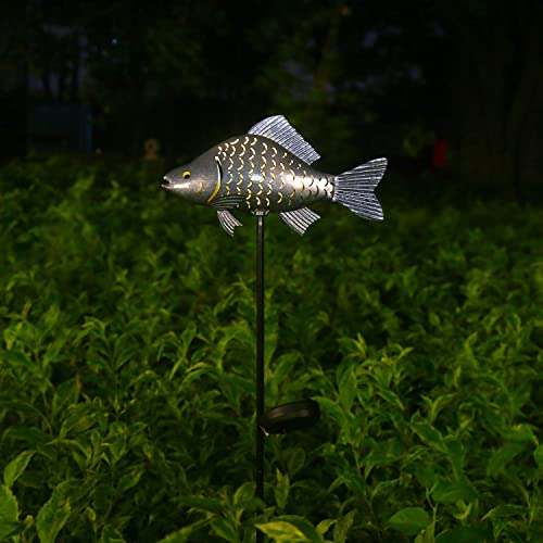 Solar Garden Lights Metal Fish Decorative Stake for Outdoor Patio Yard Decorations,Warm White LED Solar Path Lights Silver-1