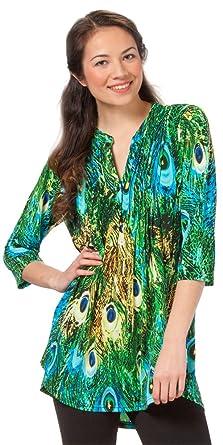fd5b35aba5133d La Cera Tunic in Blue Green Peacock at Amazon Women s Clothing store