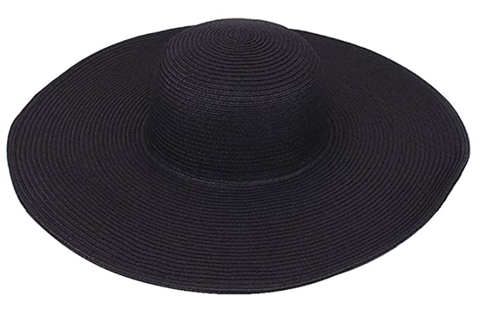 6343e5841468 LanLan Big Beautiful Solid Color Floppy Hat Black at Amazon Women's ...