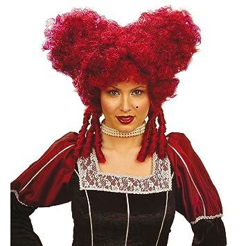 Clásico barroco rococó de la peluca para mujer rojo de la Edad media de carnaval de