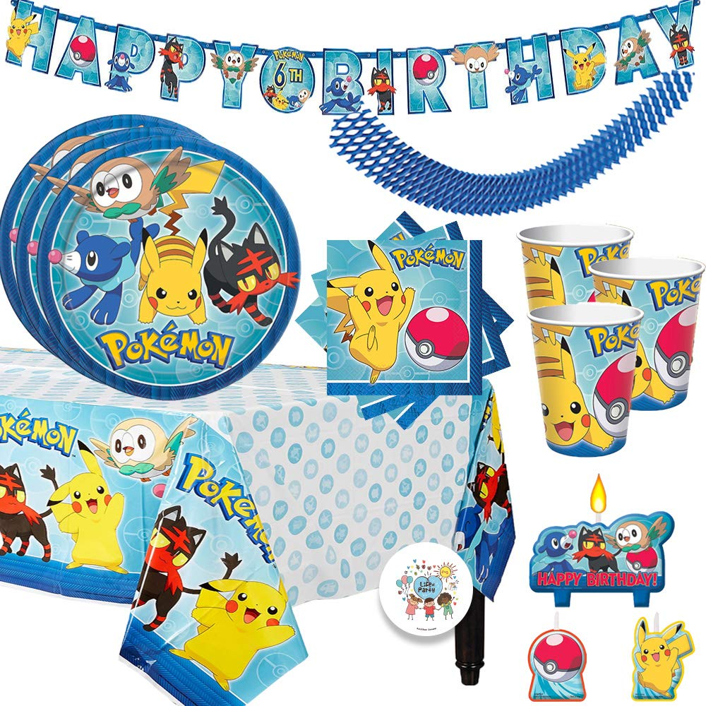 Pokemon Birthday Party Supplies Pack For 16 Guests With Plates, Beverage Napkins, Tablecover, Candles, Cups, Add An Age Birthday Banner, Plus Exclusive Pin By Another Dream by Another Dream