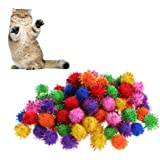 Delight eShop 100Pcs Colorful Mini Sparkly Glitter Tinsel Balls Small Pom Ball For Cat Toys