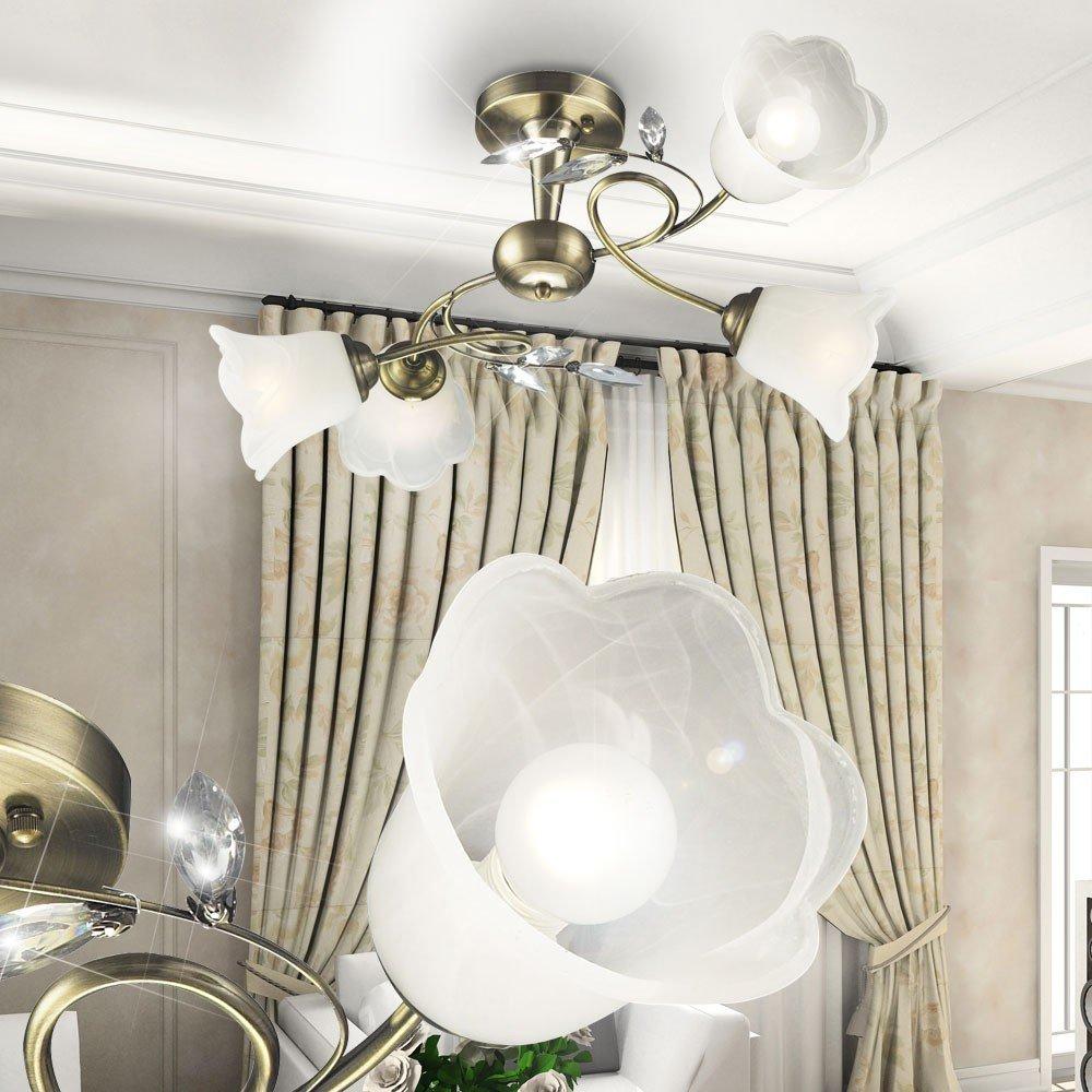 lampen wohnzimmer glas : Antike Messing Glas Beleuchtung Landhausstil Lampe Wohnzimmer