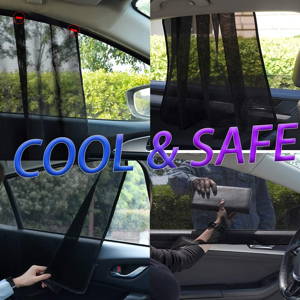 Black-2 Maximum Protection 10 Movable Magnets- Fit Most of Vehicle Side Window Sunshades Car Window Shade for Baby Suction Magnetic 4 pcs AIKESI Car Side Window Sun Shade Cover