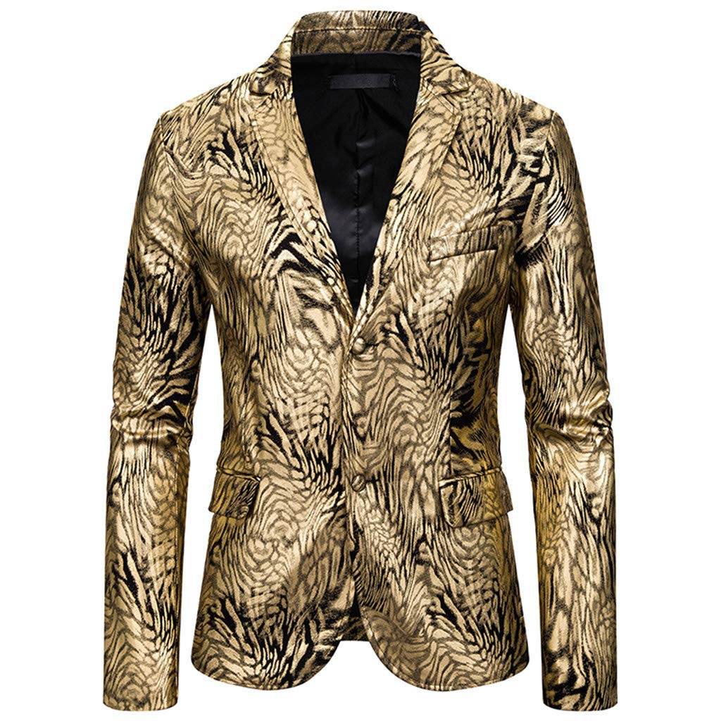 Allywit-Mens Slim Fit Floral Suit Jacket Casual Party Two Buttons Gold Print Blazer Dress Suit Party Blazer by Allywit-Mens