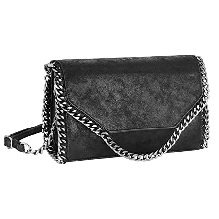 bc7d21f981e CRAZYCHIC - Women's Chains Crossbody Bag - Glitter Metallic Leather  Envelope Clutch Bag - Lady Girl