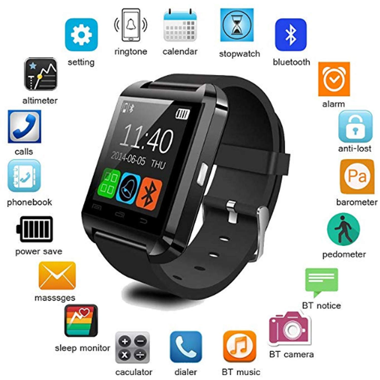 Amazon.com: HOTLISTA Bluetooth Smart Watch,U8 Smartwatch for ...