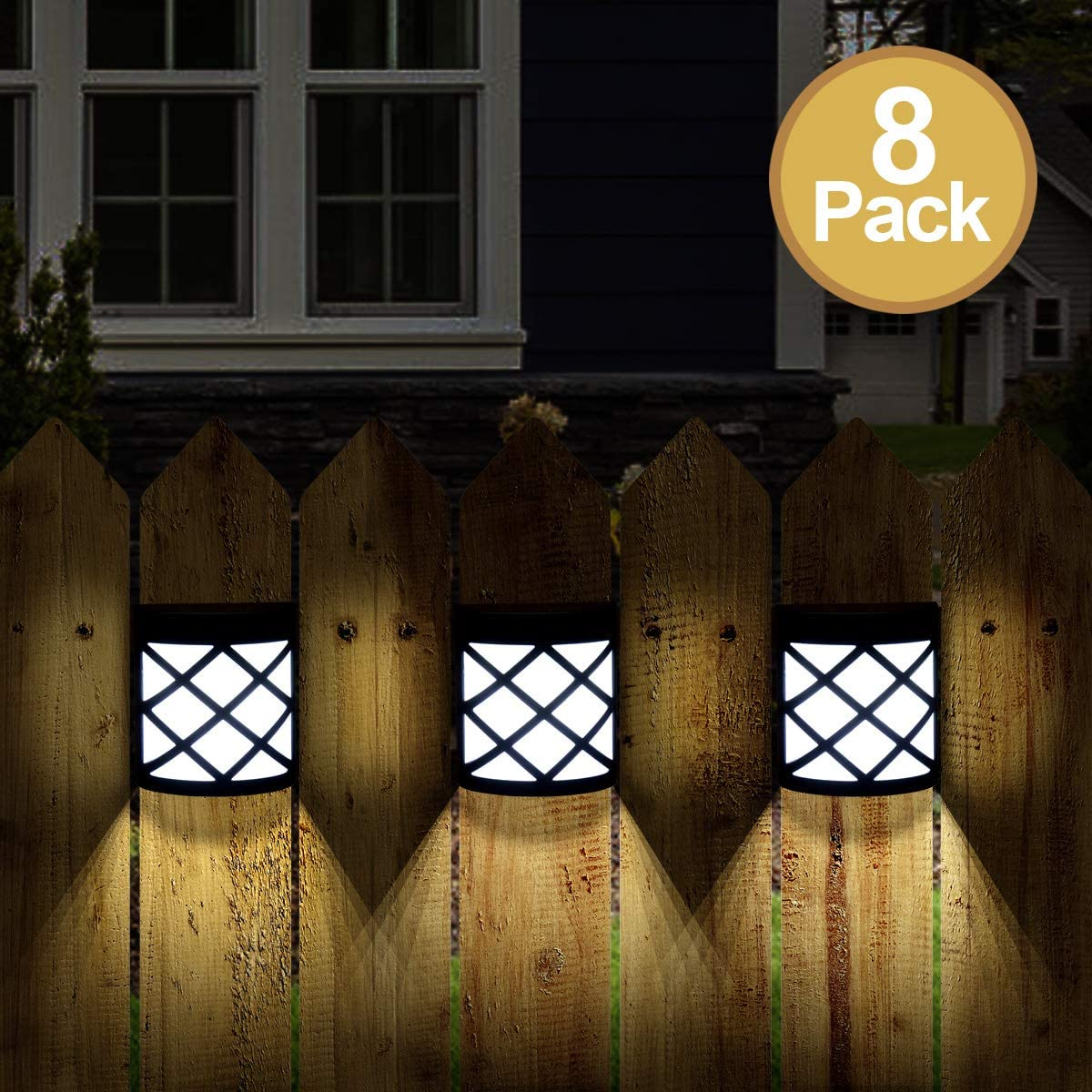 GIGALUMI 8 Pack Solar Fence Lights,6 LED Solar Deck Ligths,Waterproof Automatic Decorative Outdoor Solar Wall Lights for Deck, Patio, Stairs, Yard, Path and Driveway. Cold White
