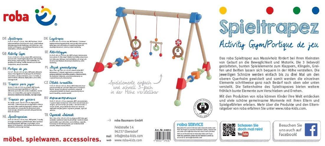 roba Arc activit/és en bois et MDF laqu/é multicolore HxLxP pour apprendre /à agripper et d/évelopper les sens avec 3 /él/éments de jeu suspendue r/églables en hauteur et jouets pour b/éb/é en bois