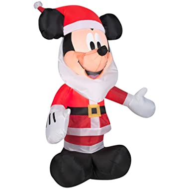 Gemmy Inflatables 3.5' Mickey Mouse with Santa Beard Disney Holiday Decor