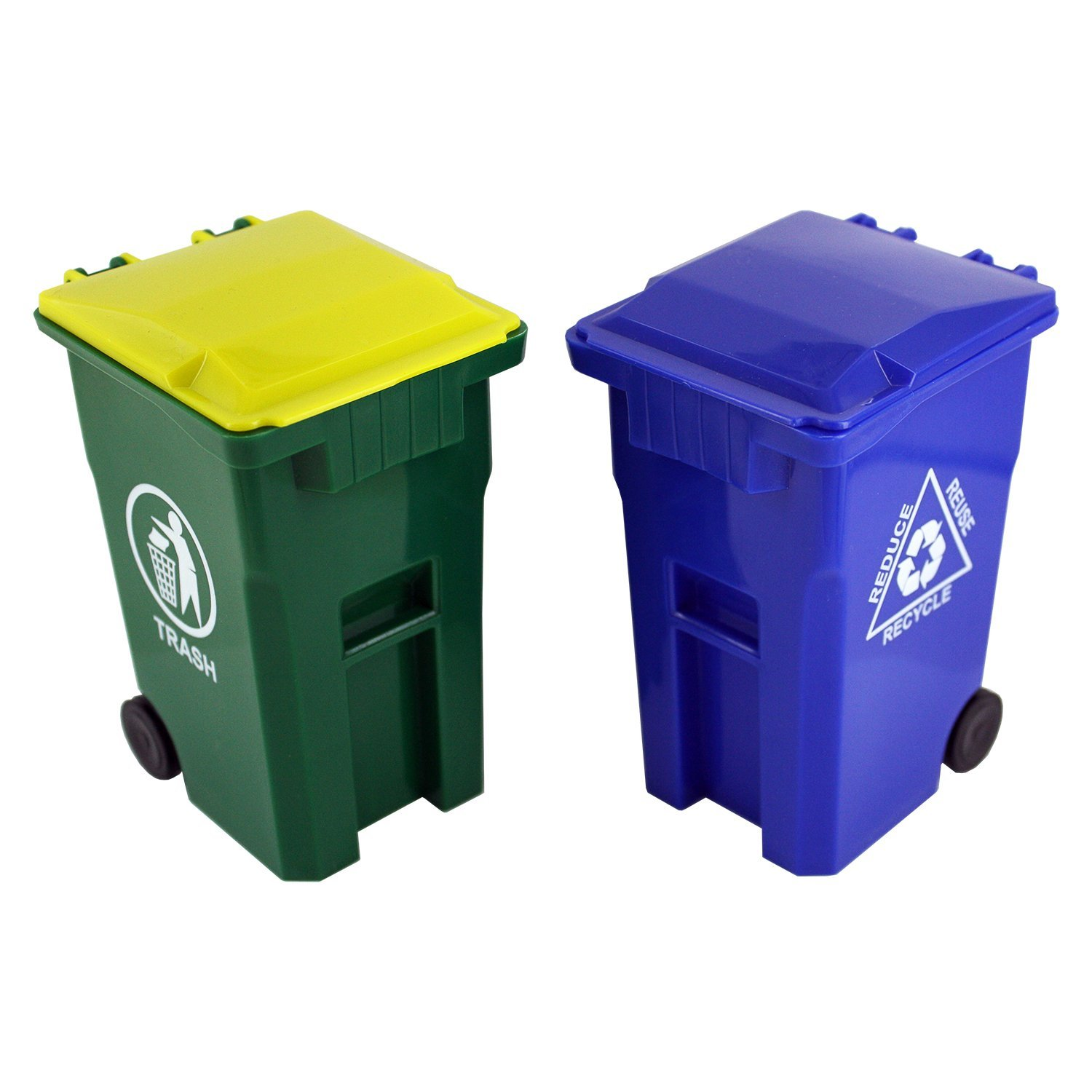Thornton's Office Supplies Mini Curbside Trash and Recycle Can Set Pencil Cup Holder