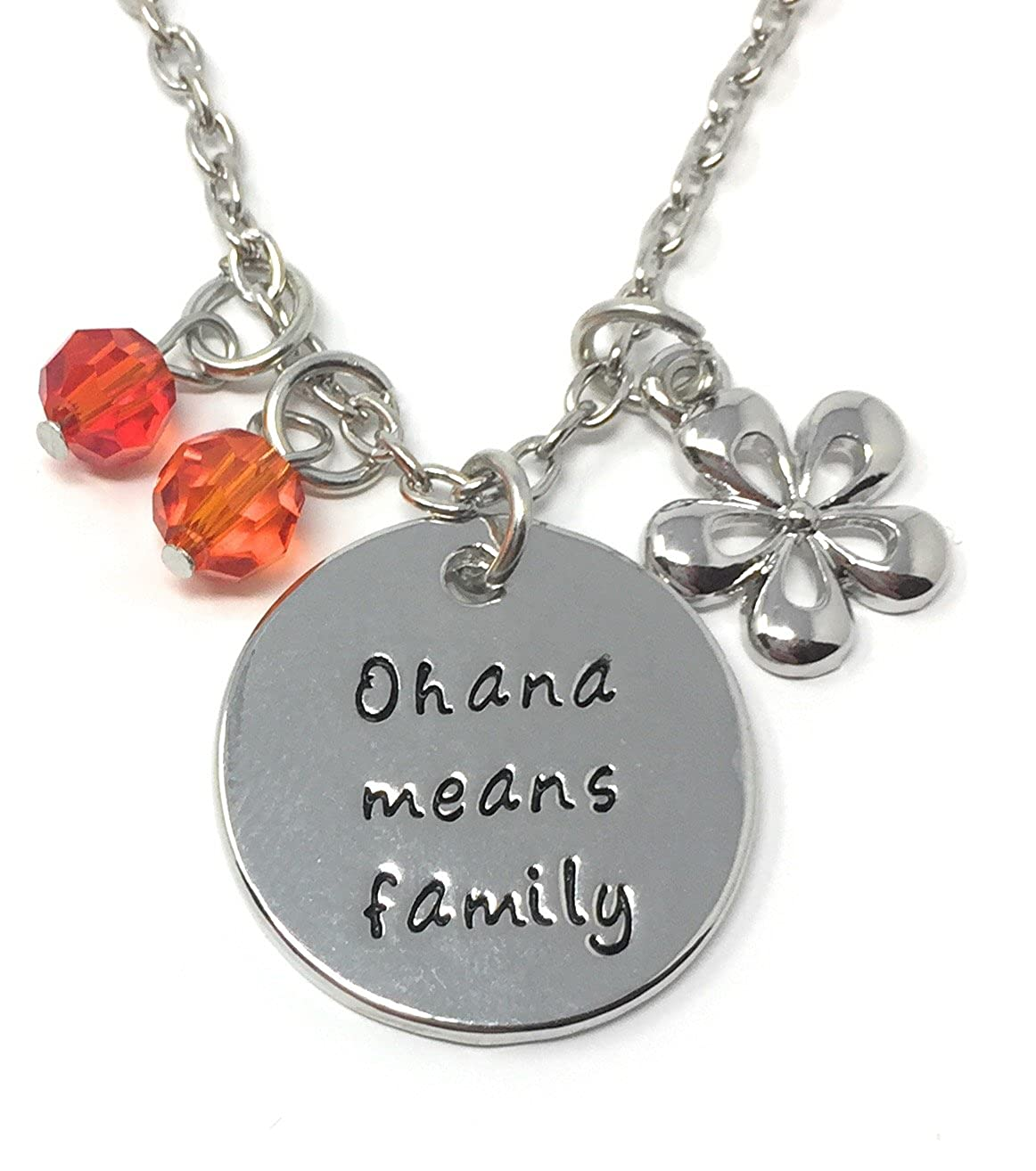 Silver-Tone 'Ohana Means Family' Engraved Pendant Necklace 2.5cm Diamater with 18 inch Chain Lilo and Stitch Cadoline 285