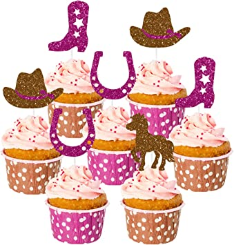 Marvelous Kreatwow Cowgirl Cake Decorations 24 Pack With Boot Horse Cake Funny Birthday Cards Online Chimdamsfinfo