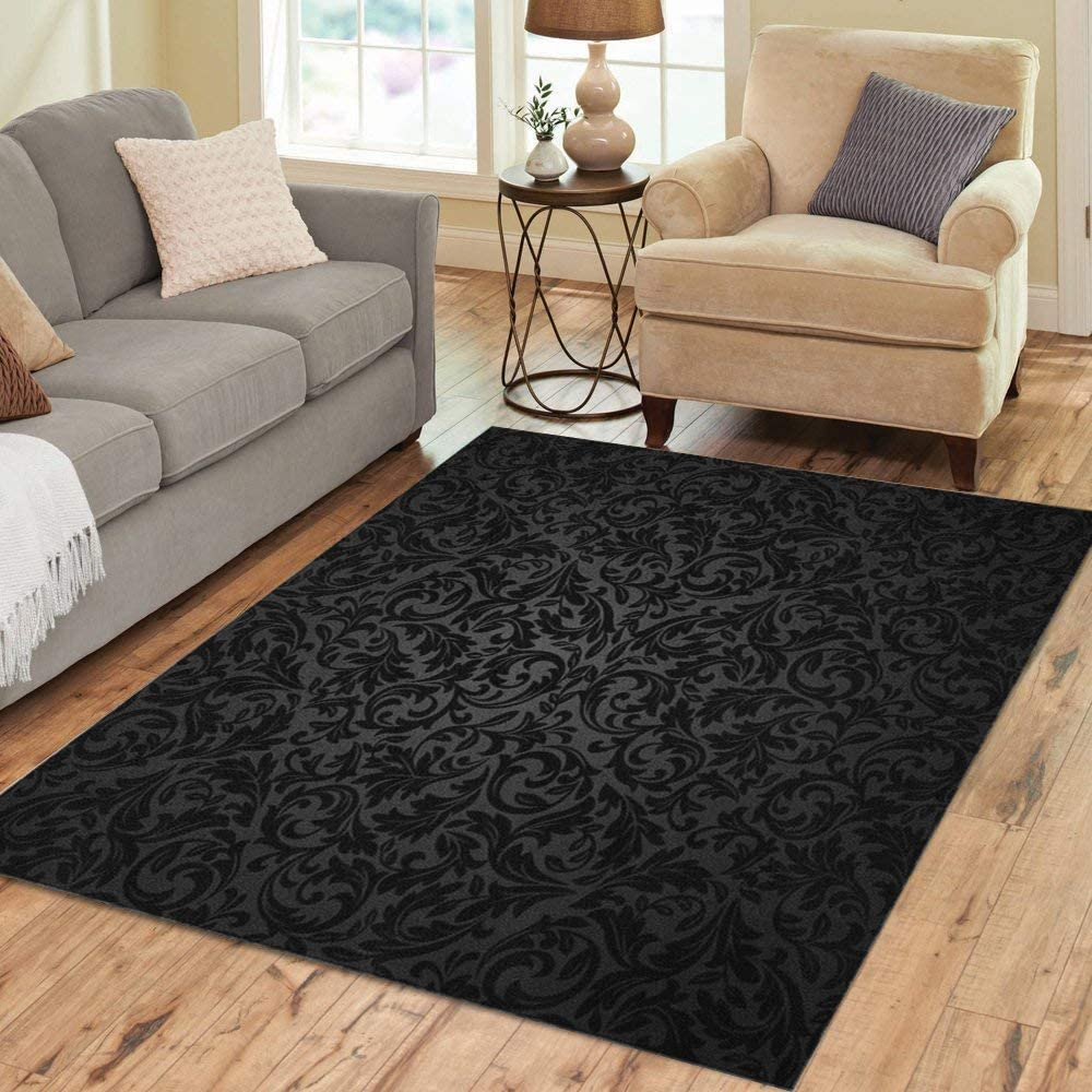 Pinbeam Area Rug Black Damask Floral Pattern Royal Flowers on Gothic Home Decor Floor Rug 5' x 7' Carpet