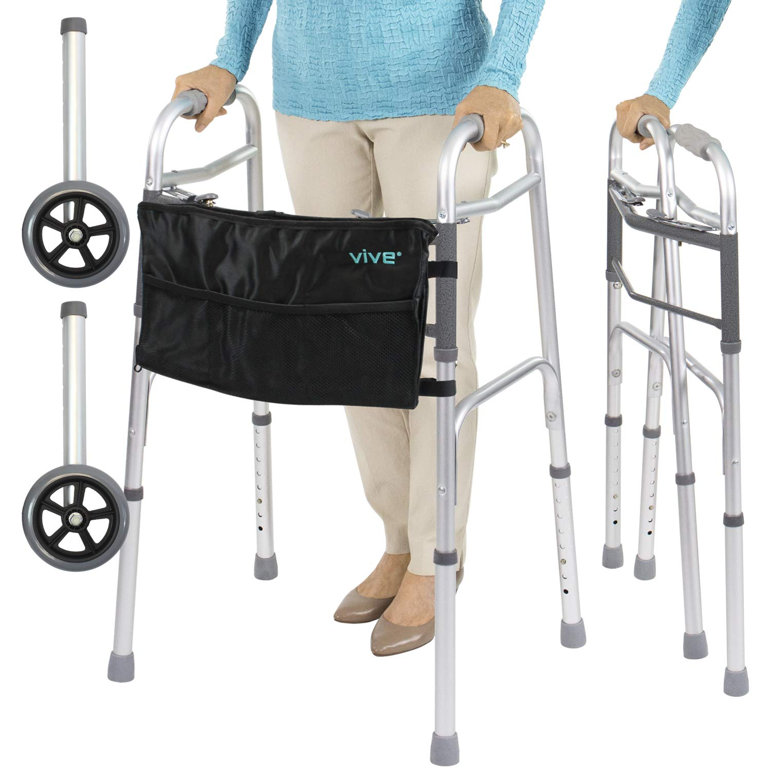 Vive Folding Walker (Plus Bag and 2 Wheels) - Front Wheeled Support, Narrow 23 Inch Wide - Adjustable, Lightweight Portable, Compact Elderly, Handicap Medical Walking Mobility Aid - Push Button Close by Vive