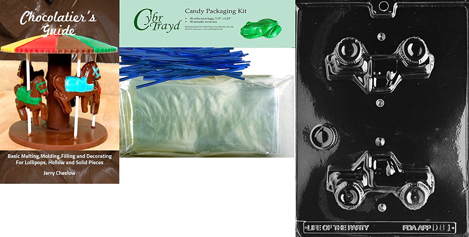 Includes 25 Cello Bags and 25 Blue Twist Ties Cybrtrayd3D 4X4 Truck Dads Chocolate Candy Mold//Packaging Bundle