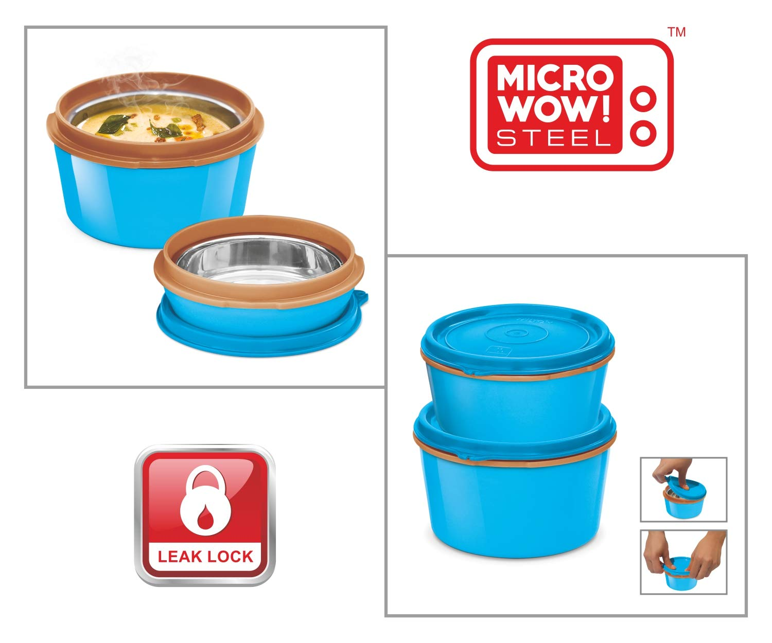 MILTON Bento Lunch Box Set -4 MICROWAVEABLE Stainless Steel Meal Prep Containers, Expandable Thermal Insulated Lunch Bag, SS Spoon Double Wall Food Storage Boxes w/Leak Proof Lids For Men,Women,Kids by Milton (Image #6)