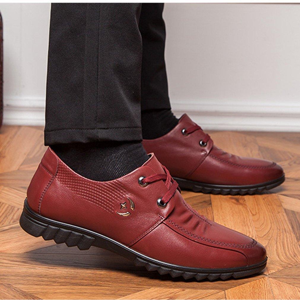 Herren Brogue Schuhe Auto Nähte Mikrofaser Modische Business Metall Dämpfung Freizeit Metall Business Verbindung Entspannt Niedrig Derby Schnürhalbschuhe Weinrot 3b1363