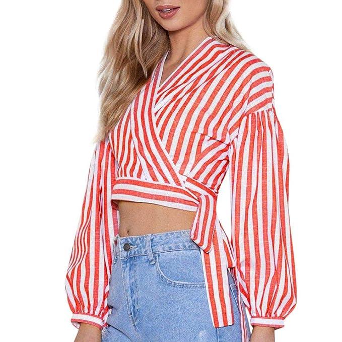 IZHH Frauen Damen Mode Gestreift V-Ausschnitt Bandage Nabel Kurz Shirt  Kostüm Lange Ärmel 9438b360f5