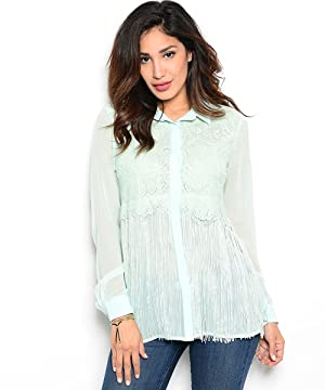 Women's Long Sleeve Tassel Lace Detail Blouse Shirt Top
