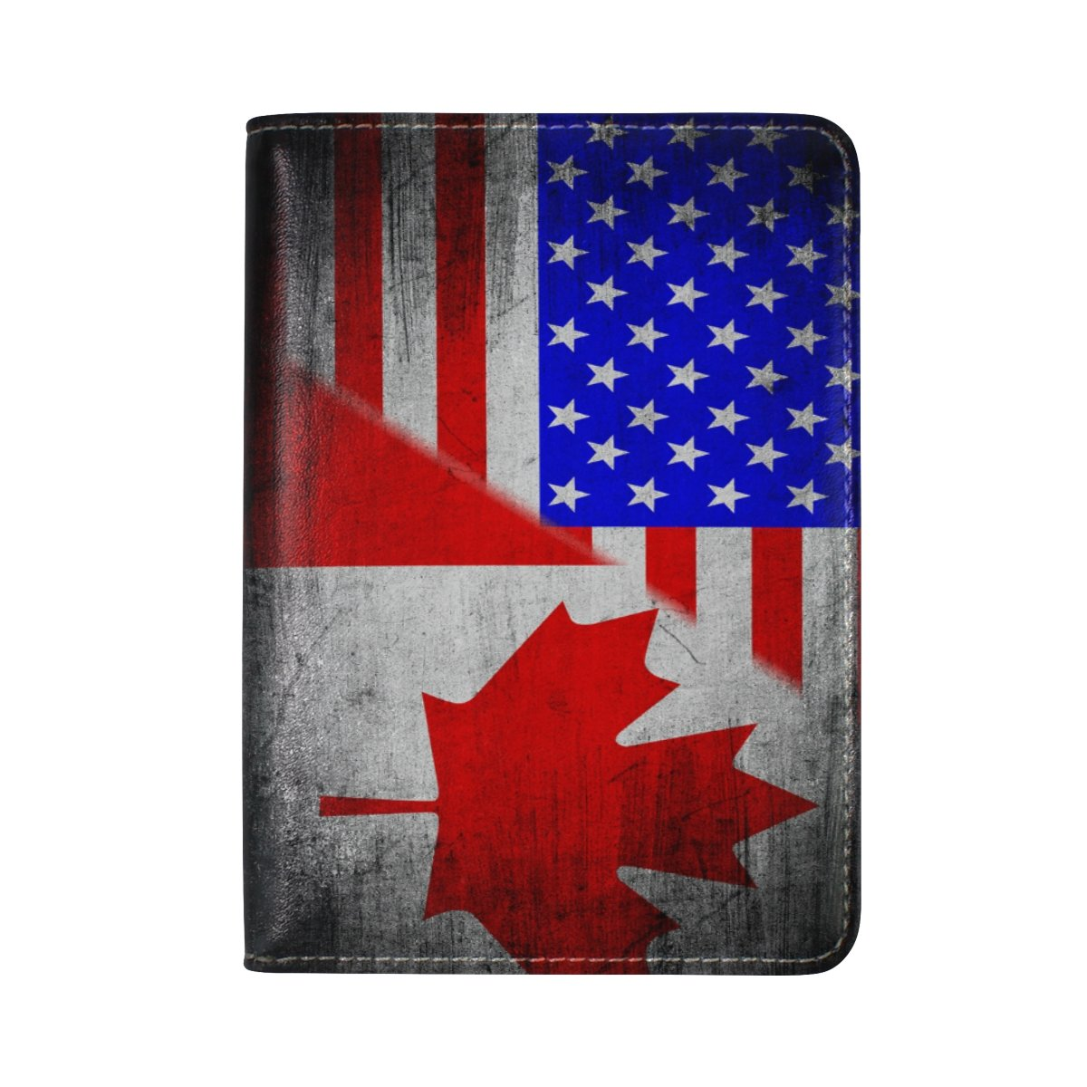 America Flag Canada Flag Vintage Travel Passport Covers Holder Case Protector