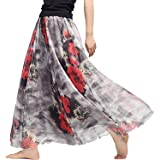 Elonglin Womens Chiffon Long Skirt Floral Printing Maxi Skirt with Lining Elastic Waist Beach Skirt