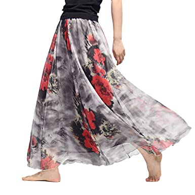 281c7991d025d Elonglin Women's Chiffon Maxi Long Skirts Floral Print Beach Skirt Pleated  Style 57 Waist:50