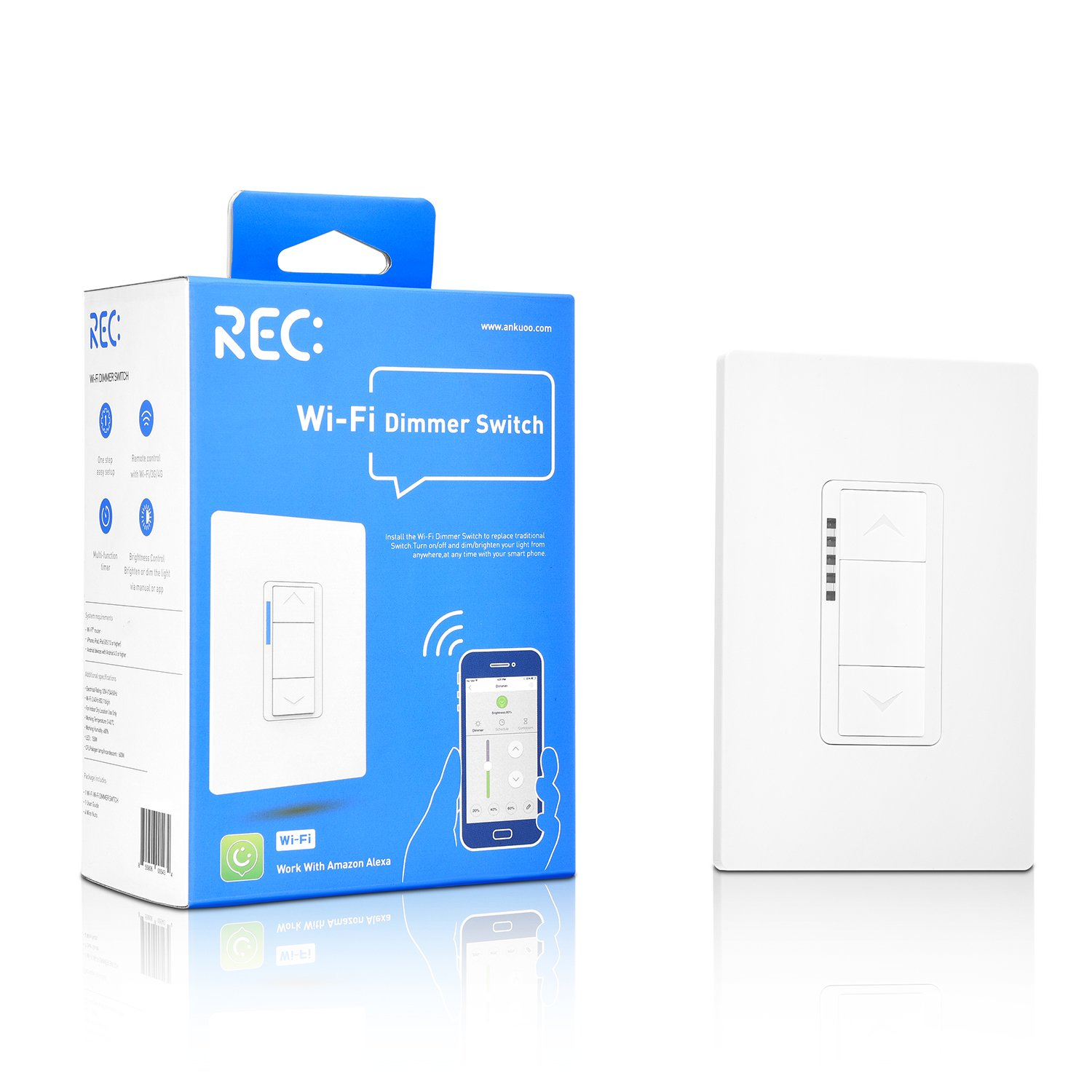 Ankuoo Rec Wi Fi Dimmer Smart Light Switch Works With Alexa Not Wiring A Off Another Plug Play Limited Diy Required No Hub Neutral Wire Single Pole