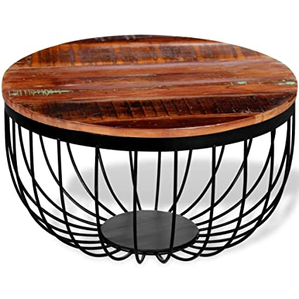 Marvelous Festnight Industrial Style Round Coffee Table Vintage Table Solid Reclaimed  Wood 23.6u0026quot; ...