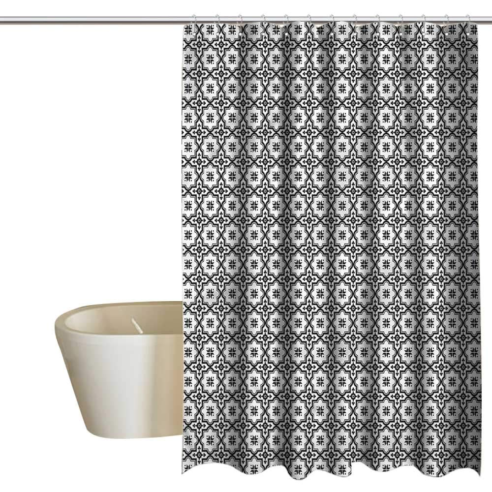 Shower Curtains Black and Gray Moroccan,Monochrome Tile Design,W72 x L96,Shower Curtain for Girls