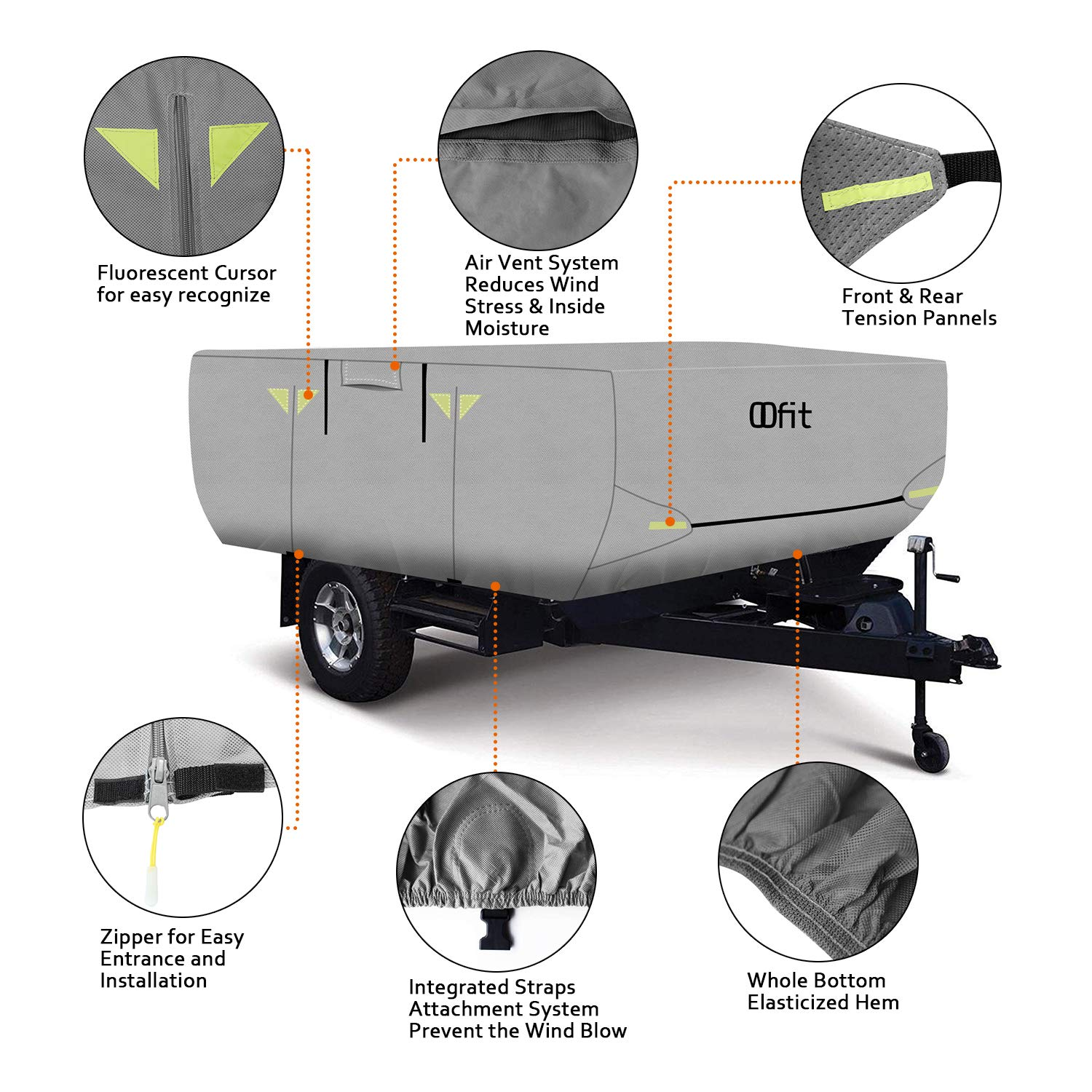 OOFIT 4 Layers Pop-up Camper Cover 12' – 14' Rip-Stop Anti-UV Folding Camper Trailer RV Cover with Adhesive Repair Patch by OOFIT (Image #2)