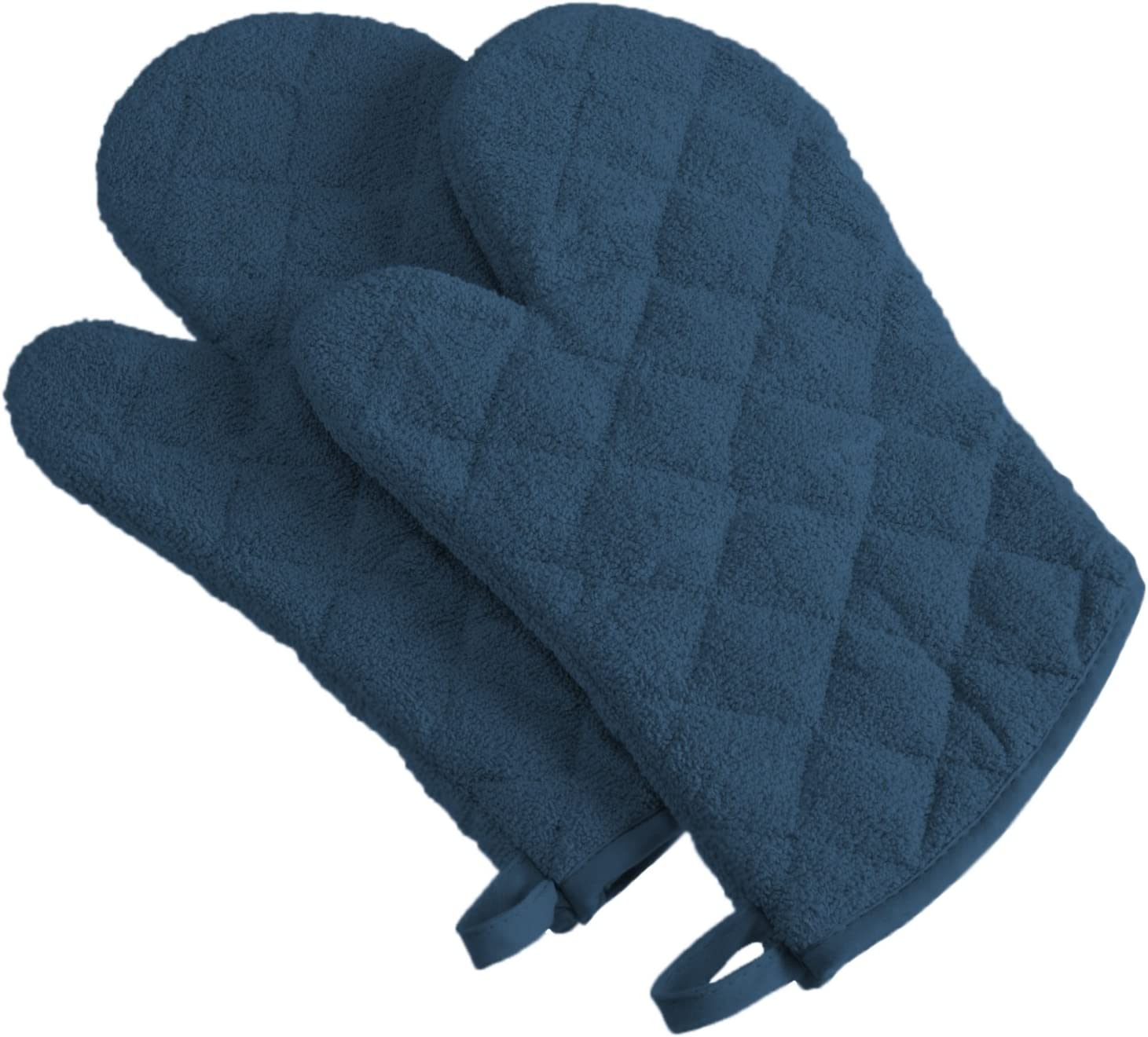 DII 100% Cotton, Quilted Terry Oven Set Machine Washable, Heat Resistant with Hanging Loop, Ovenmitt, Blue 2 Piece