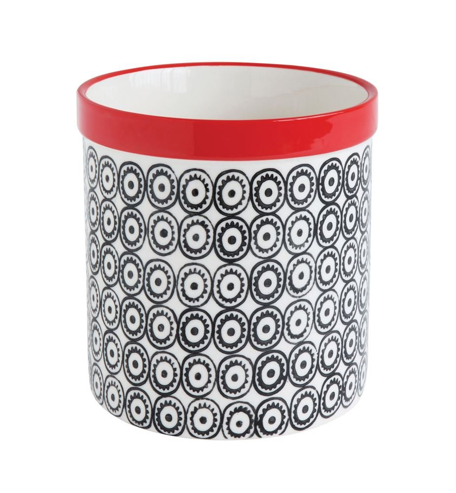 Heart of America Stoneware Utensil Holder Black Pattern With Red - 3 Pieces