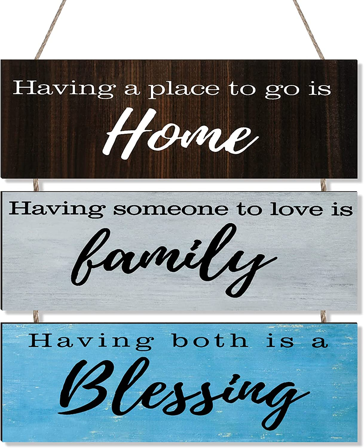 Jetec Having Someone to Love is Family, Having Somewhere to Go is Home, Having Both is A Blessing Rustic Wooden Family Sign Decor Hanging Wood Wall Decoration for Living Room Bedroom Outdoor