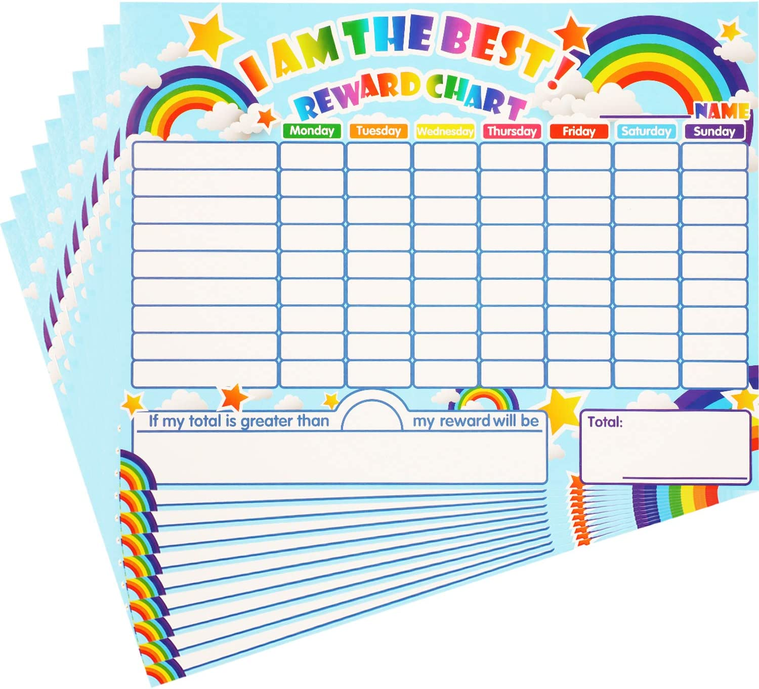 Reward Chore Chart Dry Erase Behavior Chart Learning Responsibility Star Chart Reusable Self-Adhesive Reward Chart for Children in Home and Classroom Learning, 14.5 x 11 Inches (10 Pieces)