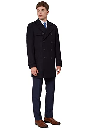 5d81ca855760 French Connection Men`s Tailored Fit Navy Double Breasted Coat   Amazon.co.uk  Clothing