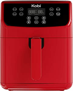 Kobi Air Fryer, 5.8 Quart,1700-Watt Electric Hot Air Fryers Oven & Oilless Cooker for Roasting, Nonstick Basket,ETL Listed(100 Recipes) (Red)