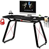 Mahmayi GT010 Modern Racing Style Gaming Table, Carbon Fiber PVC on MDF with Gear hook, Cup holder and Controller…
