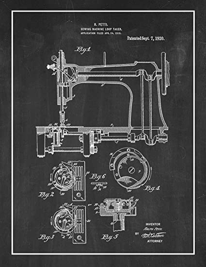 Amazon Sewing Machine Patent Print Art Poster Chalkboard With Classy Patent For Sewing Machine