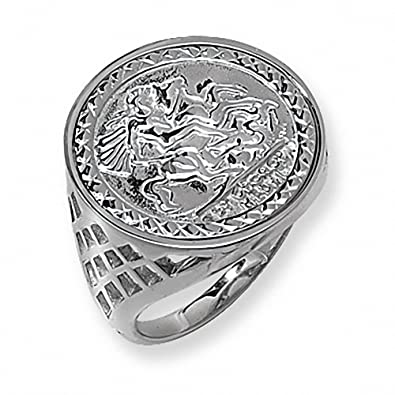 Sterling Silver St George Ring Coin style LARGE SIZES N to Z+5