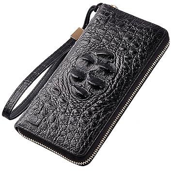 T-FBW Billetera para hombres Cartera de hombre - El nuevo bolso de embrague de cuero de patrón de cocodrilo cartera larga de cremallera de hombre: ...