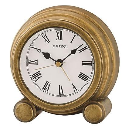 Seiko Reloj de sobremesa con Alarma, Acabado Antiguo Madera, Oro