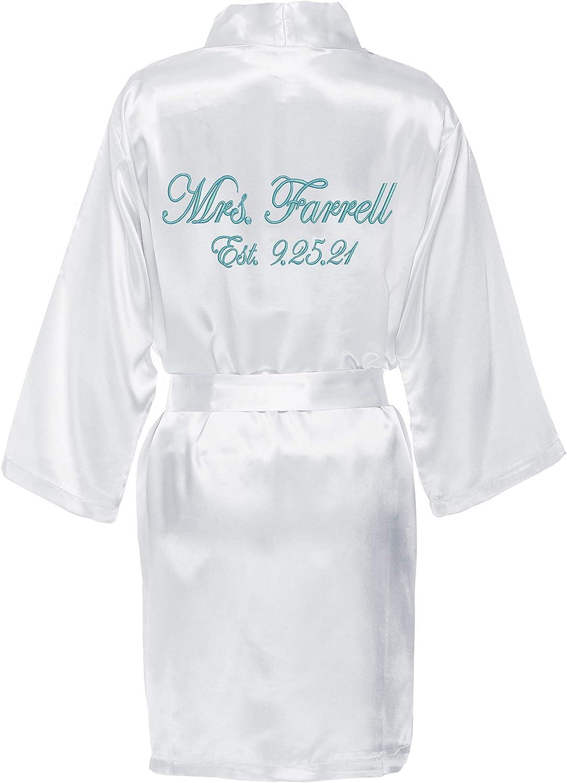 Wedding Day Gift Satin Robe Personalized MRS Future Mrs
