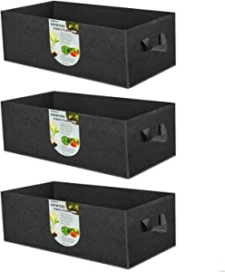 ANGELIOX 3 Pack 8 Gallon Grow Bags, 300G Thickened Nonwoven Fabric Garden Bed,30L Square Flower Planter Pots Containers with Handles for Potato Onion Carrot Taro Radish, Fruit,Flowers(50x30x20cm)