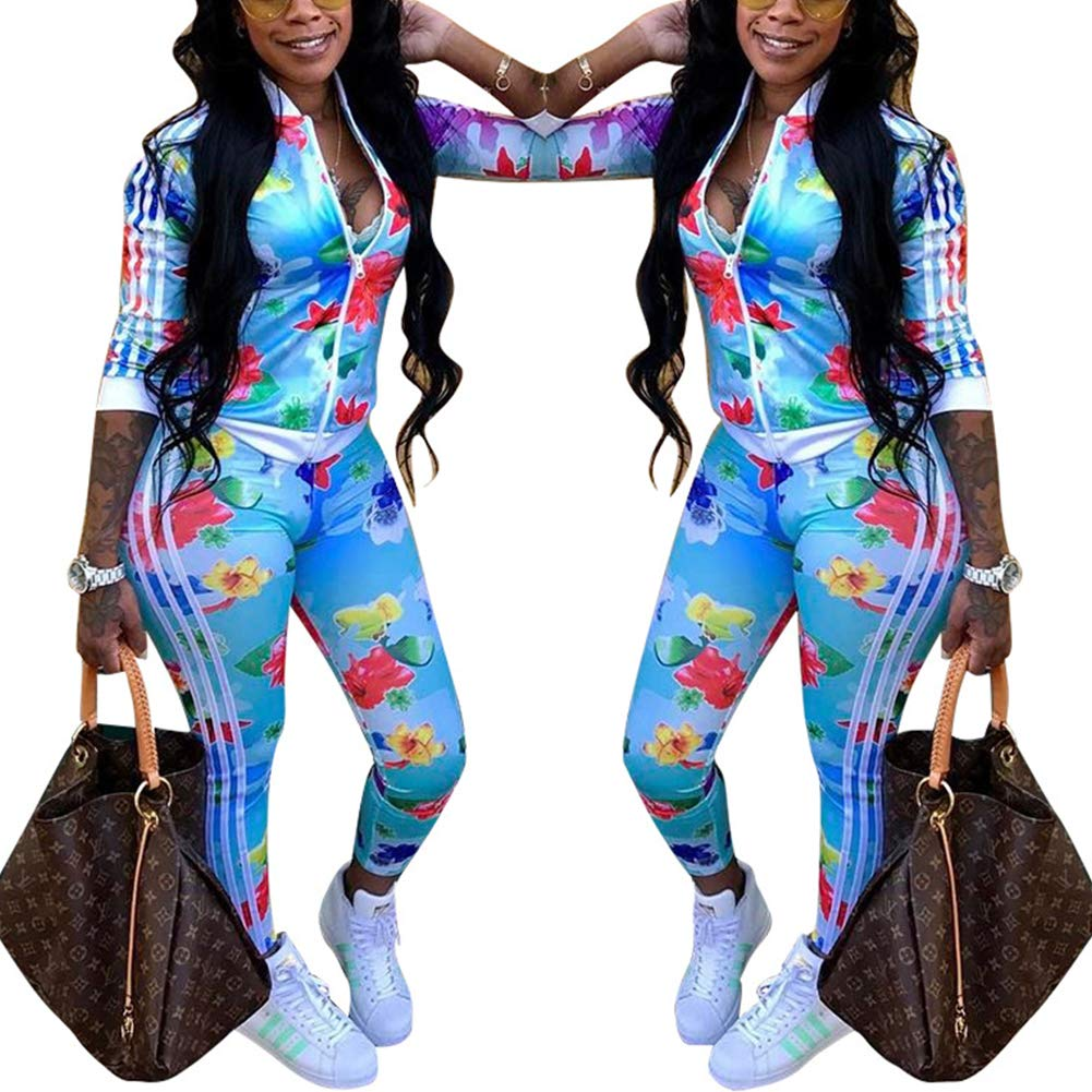 Two Piece Tracksuit Stripes Flower Print Zip Up Crop Tops Blazer Playsuit Blue L