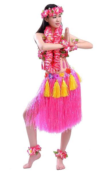 FEOYA - Traje Fiesta Hawaiana Disfraz para Mujer Falda de Luau de Hierba Flores Conjuntos de 8 para Danza Hula
