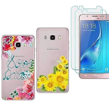Amazon.com: 2 x Samsung J5 (2016) Funda con 2 Pack Protector ...